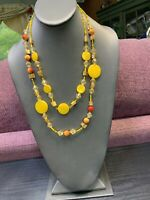 Vintage Multi 3 Strand Yellow Mother Of Pearl Seed Bead Bohemian  Necklace 22""