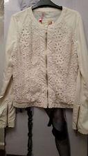 """WOMEN IVORY JACKET/COAT """"BLUE DEISE FASHION"""" PU soft Leather&croshet detail M"""