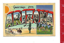 vintage Linen Large Letter Greetings from Arizona
