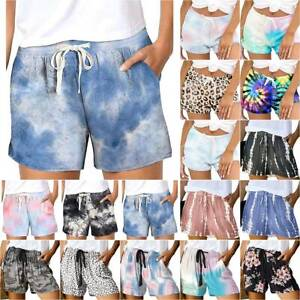 Women Tie-Dye Elastic Waist Yoga Shorts Gradient Hot Pants Casual Holiday Bottom