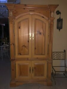 Pine TV armoire Entertainment Cabinet Solid Wood