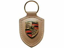 Mocha Brown Porsche Crest Keyring Key Chain Leather New Plastic in Packaging