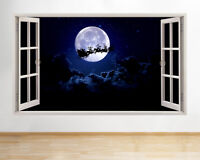 Wall Stickers Moon Christmas Santa Sliegh Window Decal 3D Art Vinyl Room D764