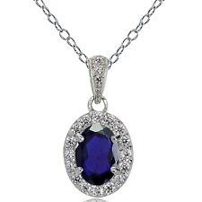 Sterlingsilber Künstlicher Blauer Saphir und Weiß Topas Oval Halo Halskette