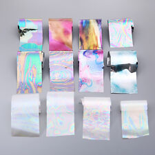 12Pcs/set DIY Rainbow Nail Foils Starry Sky Nail Art Transfer Sticker Manicure