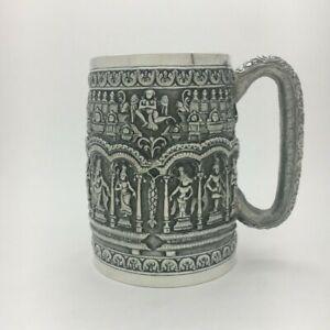 Superb 19th C Antique Asian Indian Thai Burmese Repousse' Silver Tankard Mug Cup