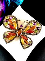 GORGEOUS SIGNED MONET GOLDTONE AMBER CITRINE NAVETTE RHINESTONE BUTTERFLY BROOCH