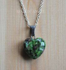 925 Silver Necklace & 16mm Ruby Zoisite Heart Pendant Reiki Healing Ladies Gift