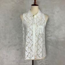 Equipment White Sleeveless Lace Mina Blouse Women's Large