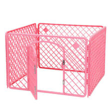 Indoor/Outdoor Plastic Pet Dog Play Pen PlayPen, 4-Panels, Pink