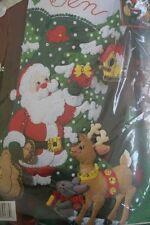 """XMAS Bucilla Felt Applique Holiday STOCKING Kit SANTA'S FRIENDS #84586 18"""" Deer"""