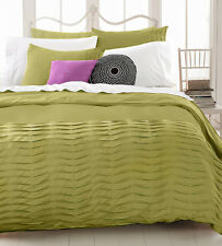 Idea Nuova Republic Bedding Pleated Tucks GREEN 3-PC Duvet & Shams Set T409