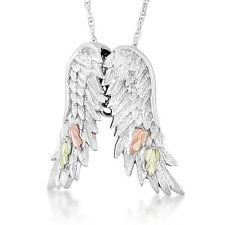 Black Hills Gold pendant angel wings womens ladies .925 sterling silver