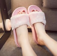 New Womens Lady Slipper Slip On Sliders Fluffy Fur Slippers Flip Flop Sandals