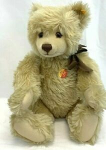 "VINTAGE Steiff  21"" Tan Color Teddy Bear Jointed Wool Great Condition with tags"