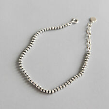 3mm Womens Genuine S925 Sterling Silver Classic Flat Bead Chain Bracelet Retro