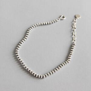 3mm Womens Genuine S925 Sterling Silver Flat Bead Chain Bracelet Retro 7.28''