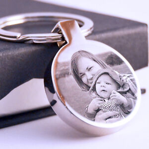 Metal round Keyring your Photo text engraved Personalised Father's day Gift