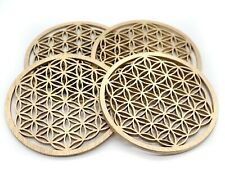 Flower of life coaster set of 4 golden wood coasters