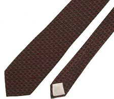 Luxury Authentic CELINE Paris Gray Red Brown CLASSIC Stirrup Silk Skinny Tie