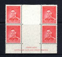 1937 ***MUH*** KGVI 2d SCARLET GUTTER BLOCK of 4 with John ASH IMPRINT - SUPERB