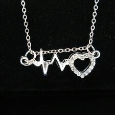 Heartbeat Electrocardiogram Necklace NEC14G Trendy .Minimal Silver Necklace