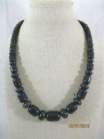 "Jay King Sterling Silver Australian Black Opal Graduated Bead Necklace 18""-21"" L"