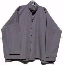 Eskandar GRAY Cotton Double Stand Collar Long Sleeve Shirt (2) $695