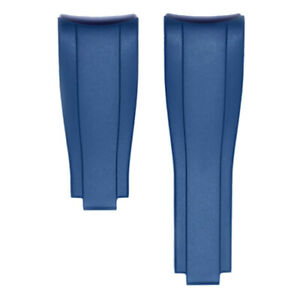 Everest Curved End Rubber Deployant Strap | Rolex Sports Models Blue 4x4 links