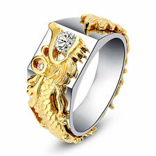 Men's Sliver Domineering Dragon Rings Gold Color White Sapphire Band Size 6-11