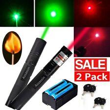 2x 990mile Assassin Green+Red Laser Pointer Pen Astronomy Visible Beam+Batt+Char