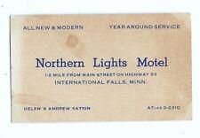 1930s Northern Lights Motel business card, International Falls, Minnesota