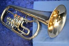 "German-Made Gold Brass ""Weltklang"" Rotary Valved Flugelhorn with mouthpiece"