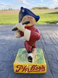 "Vintage Pfeiffer's Beer Chalk Piper Flute Statue Figure 7 1/2"" H"