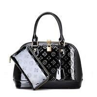 New Women Handbag Leather Shell Casual Tote Shoulder Purse Satchel Bag Black