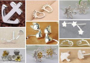 14 Paar Ohrringe Flugzeug Katze Hund Tänzerin Blume 925 Silber oder versilbert