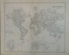 More details for 1859 world chart original antique hand coloured map by g.h. swanston & fullarton
