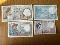 LOTTO 4 BANCONOTE FRANCIA BANQUE DE FRANCE 5 10 50 100 FRANCS FRANCHI