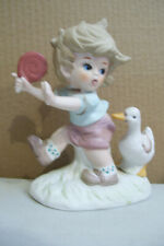 Vintage Unsigned Flambro Collectors Choice Boy With Lollipop & Duck Figurine