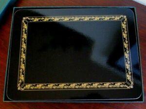 Vtg JASON ACANTHUS BLACK & Gold Cork Back Table Placemats Set of 6, New Zealand