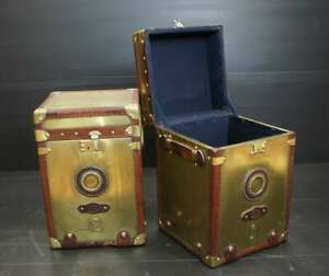 Solid Brass Handmade Bespoke Occasional Side Table Trunks Antique Leather