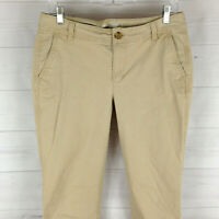 Old Navy women size 8 LONG stretch solid beige flat front bootcut chino pant EUC
