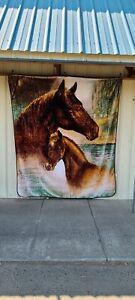 HORSE HORSES FARM KING SIZE BLANKET