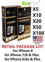 Wholesale Lot Retail Tempered Glass Protector for Apple iPhone Xs MAX 6 7 8 PLUS