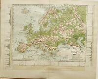 C1870 Landkarte Europa Mountain Ketten Alps Fluss Systems Litauen Norwegen