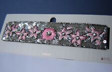 Topshop Choker Necklace Sequins Floral Pink Diamante Beaded Festival £18.50 NEW