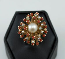 14k YELLOW GOLD VINTAGE RED CORAL & PEARL LARGE COCKTAIL DINNER RING Size 6.5 NR