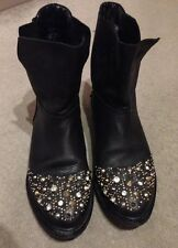 Zara Stunning Crystal Rhinestone Studded Ankle Leather Boots Steampunk Blogger 6