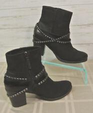 EXC! Tamaris Tora BLACK LEATHER Fleece Lined Booties Ankle Boot Women EU 38 US 7