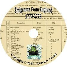 6000 names Immigrants ENGLAND history & genealogy on CD